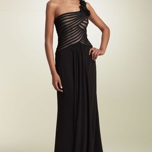 JS Collections One Shoulder Mesh & Jersey Gown